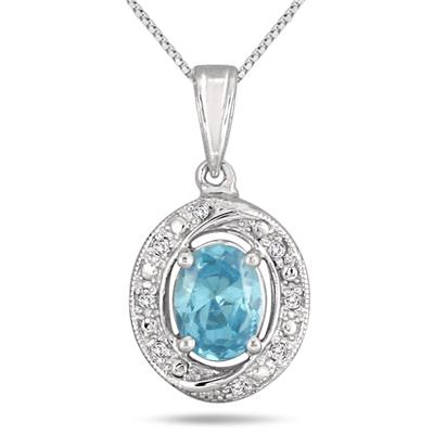 Blue Topaz and Diamond Royal Pendant in .925 Sterling Silver