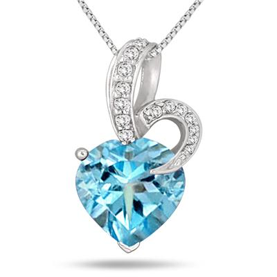 4.50 Carat Heart Shape Natural Blue Topaz and Diamond Pendant in .925 Sterling Silver