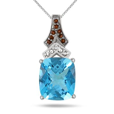 6 Carat Blue Topaz Smokey Quartz and Diamond Pendant in .925 Sterling Silver