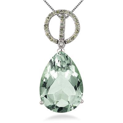 11.25 Carat Pear Shape Green Amethyst Peridot and Diamond Pendant in .925 Sterling Silver