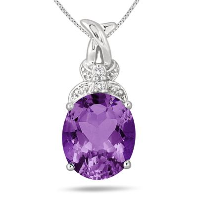 5.75 Carat Oval Amethyst and Diamond Pendant in .925 Sterling Silver