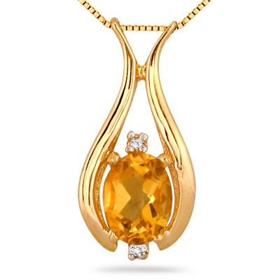 1.15 Carat Oval Citrine and Diamond Pendant in .925 Sterling Silver