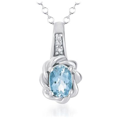 0.40 Carat All Natural Aquamrine and Diamond Pendant in .925 Sterling Silver
