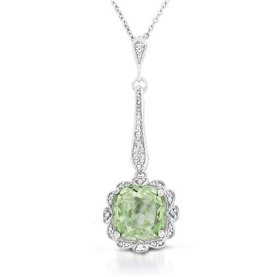 Cushion Cut All Natural Green Amethyst and Diamond Pendant in .925 Sterling Silver