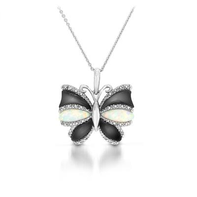 Opal and Black Onyx Diamond Butterfly Pendant in .925 Sterling Silver