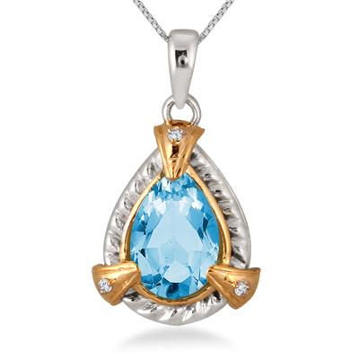 2.25 Carat Pear Shape Blue Topaz and Diamond Pendant in 14K Yellow Gold Plated Sterling Silver