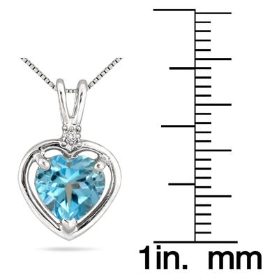 1.75 Carat All Natural Heart Shape Blue Topaz and Diamond Pendant in .925 Sterling Silver