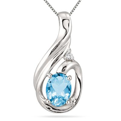 Oval Shape Blue Topaz and Diamond Pendant in .925 Sterling Silver