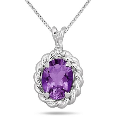 1.25 Carat Amethyst and Diamond Antique Rope Pendant in .925 Sterling Silver