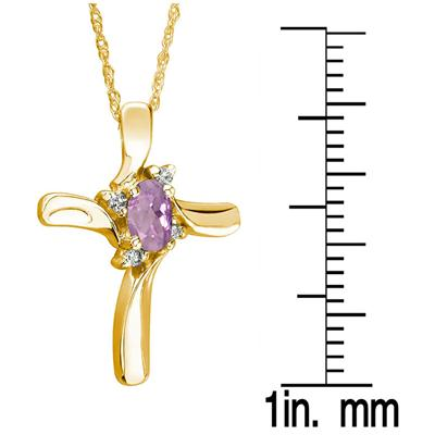 Amethyst Cross Diamond Pendant 10k Yellow Gold