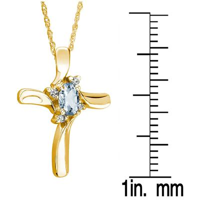 Aquamarine Cross Diamond Pendant 10k Yellow Gold