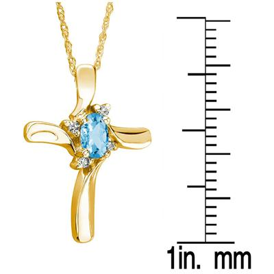 Blue Topaz Cross Diamond Pendant 10k Yellow Gold