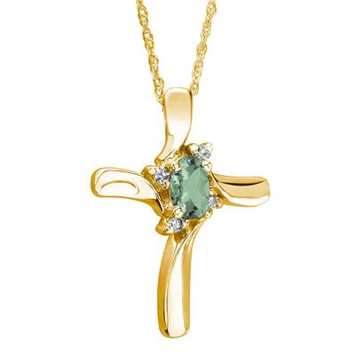 Green Amethyst Cross Diamond Pendant 10k Yellow Gold