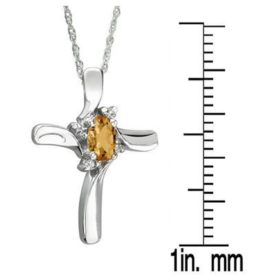 Citrine Cross Diamond Pendant 10k White Gold
