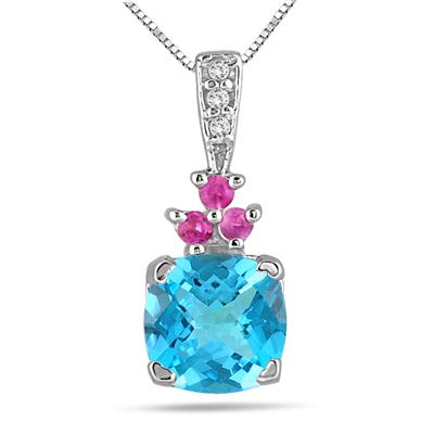 8mm Cushion Cut Blue Topaz Created Pink Sapphire and Genuine Diamond Pendant in .925 Sterling Silver