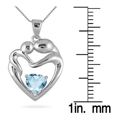 6MM Blue Topaz Heart Mother and Baby Pendant in .925 Sterling Silver