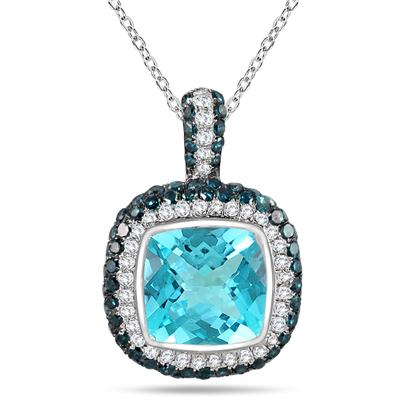 2.50 Carat Blue Topaz and Diamond Halo Pendant in .925 Sterling Silver