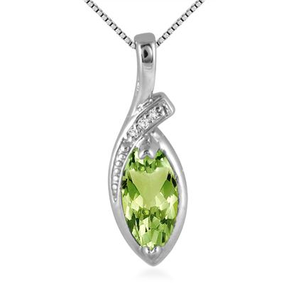 1 Carat Natural Marquise Peridot and Diamond Pendant in .925 Sterling Silver