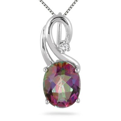 2.50 Carat Oval Mystic Rainbow Topaz and Diamond Pendant in .925 Sterling Silver