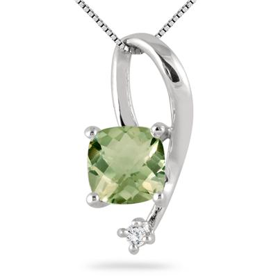7MM Cushion Cut Green Amethyst and Diamond Pendant in .925 Sterling Silver