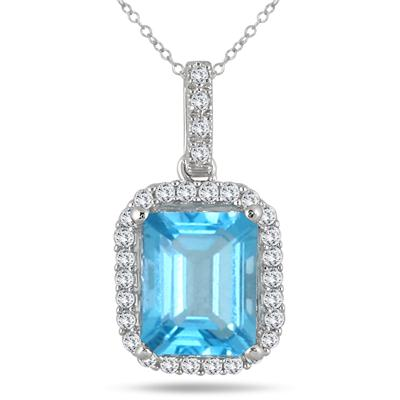 2.80 Carat Blue Topaz and Diamond Halo Pendant in 10K White Gold