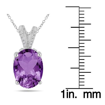 7 Carat Oval Amethyst and Diamond Engraved Pendant in 10K White Gold