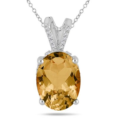 7 Carat Oval Citrine and Diamond Engraved Pendant in 10K White Gold