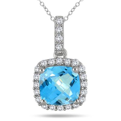 1 3/4 Carat Cushion Blue Topaz and Diamond Halo Pendant in 10K White Gold