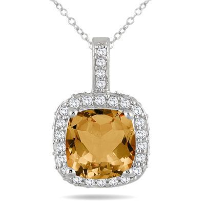1 1/2 Carat Cushion Citrine and Diamond Halo Pendant in 10K White Gold