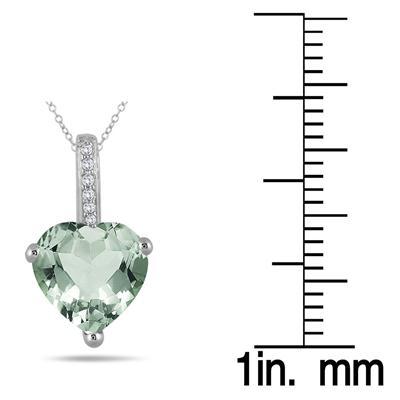 2.70 Carat Green Amethyst Heart and Diamond Pendant in 10K White Gold