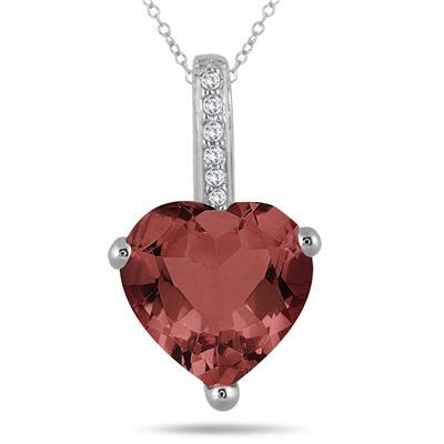 2.70 Carat Garnet Heart and Diamond Pendant in 10K White Gold