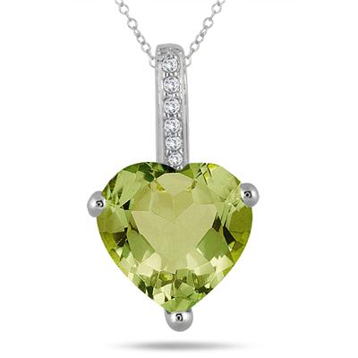 2.70 Carat Peridot Heart and Diamond Pendant in 10K White Gold