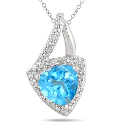 2.25 Carat Trillion Cut Blue Topaz and White Topaz Pendant in .925 Sterling Silver