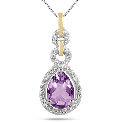 1.50 Carat Pear Shape Amethyst and Diamond Pendant in 18K Yellow Gold Plated Sterling Silver