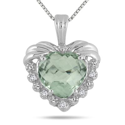 2.35 Carat Green Amethyst & Diamond Heart Pendant in .925 Sterling Silver