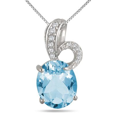 5.35 Carat Oval Natural Blue Topaz and Diamond Pendant in .925 Sterling Silver