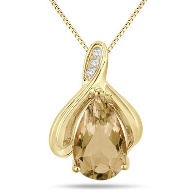 3.25 Carat Pear Shaped Citrine and Diamond Pendant in Yellow Plated Sterling Silver