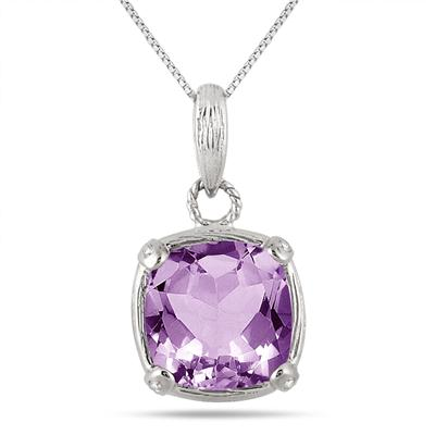 3.50 Carat Amethyst and Diamond Vintage Pendant in Sterling Silver
