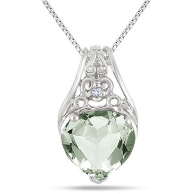 3 Carat Green Amethyst and Diamond Heart Engraved Pendant in .925 Sterling Silver