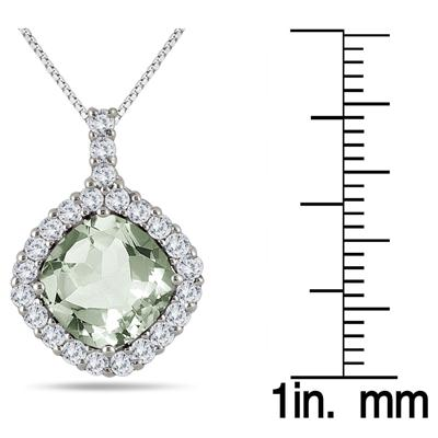 3.40 Carat Green Amethyst and White Topaz Pendant in .925 Sterling Silver