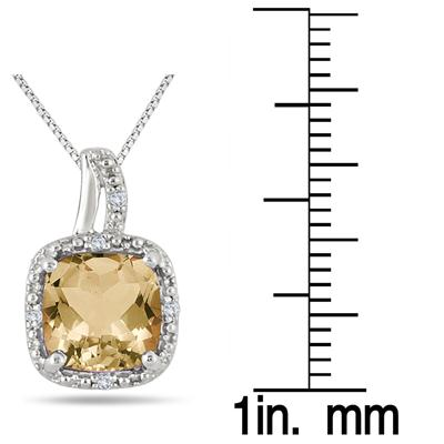 2 Carat Citrine and Diamond Pendant in .925 Sterling Silver