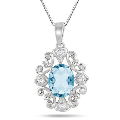 2.15 Carat Blue Topaz and Diamond Antique Pendant in .925 Sterling Silver