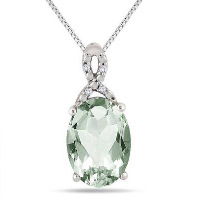 5.50 Carat Oval Green Amethyst and Diamond Pendant in .925 Sterling Silver
