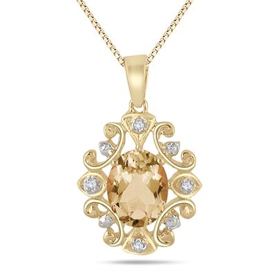 2.15 Carat Citrine and Diamond Pendant in Plated Sterling Silver
