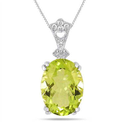10 Carat Oval Lemon Quartz and Diamond Heart Engraved Pendant in .925 Sterling Silver