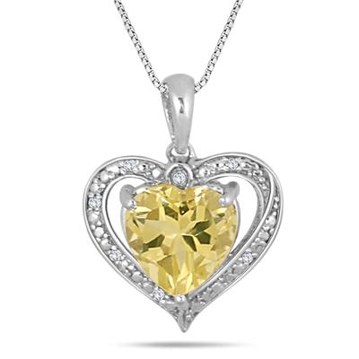 2.35 CTW Lemon Quartz and Diamond Pendant in .925 Sterling Silver