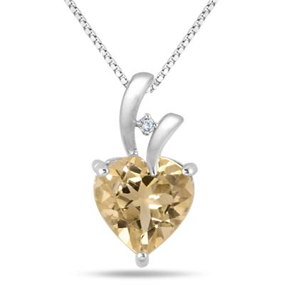 2.75 Carat Citrine and Diamond Pendant in .925 Sterling Silver