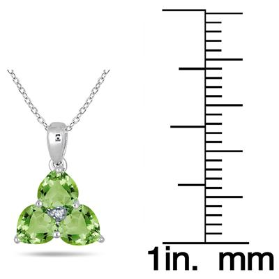 3/4 Carat 3 Stone Peridot and Diamond Pendant in 10K White Gold