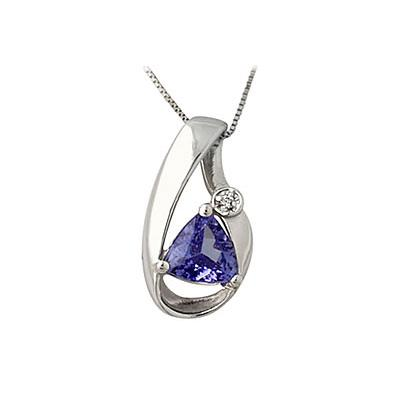 Tanzanite and Diamond Pendant in 14kt White Gold