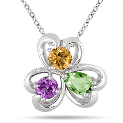 Multi-color Heart Clover Gemstone Pendant